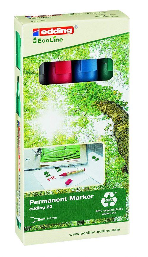 edding 22 EcoLine Permanent Chisel Tip Marker Assorted PK4