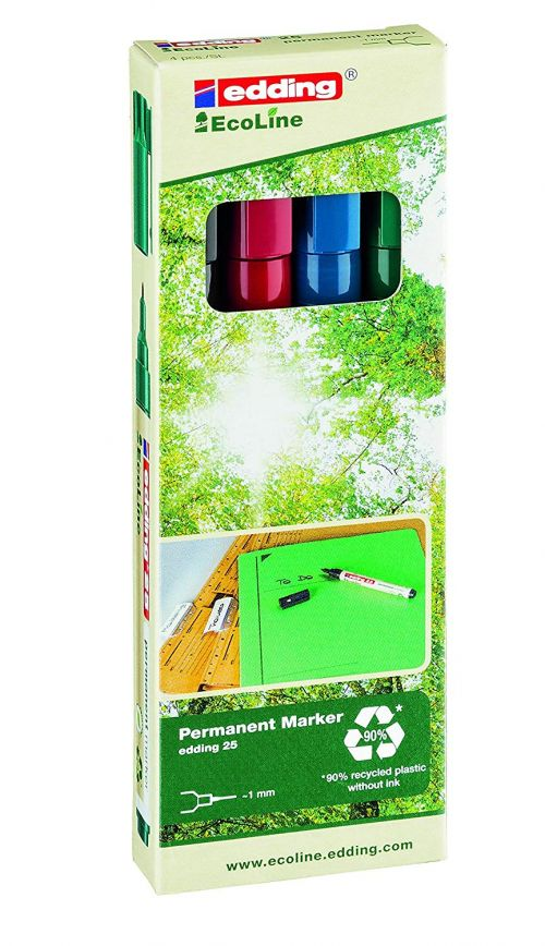 edding 25 EcoLine Permanent Bullet Tip Marker Assorted PK4
