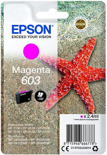 Epson C13T03A34010 603XL Magenta Ink 4ml