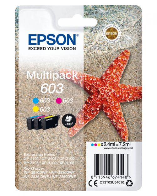Epson C13T03U54010 603 CMY Ink 3x 2.4ml Multipack