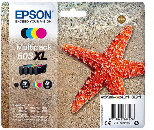 Epson C13T03A64010 603XL CMYK Ink 9ml 3x 4ml Multipack