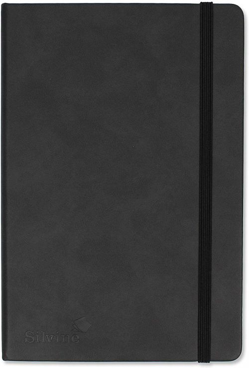 Silvine Executive A5 Casebound Soft Feel Cover Notebook Dot Grid Ruled 160 Pages Black