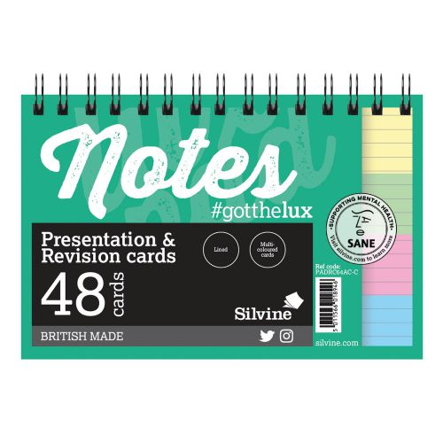 Silvine Revision Pres And Note Cards Twinwire Assorted PK48