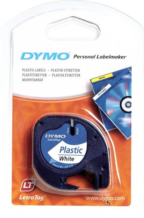 Dymo LetraTag Tape 12mm Plastic White