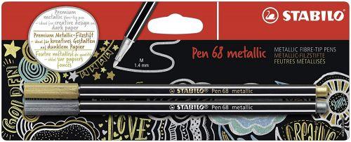 Stabilo Pen 68 Metallic Gold and Silver PK2
