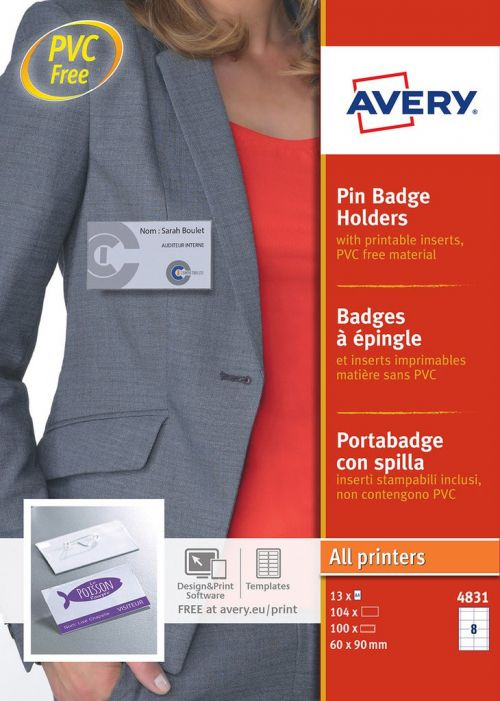 Avery Pin Badge Holders 60x90mm 104 Inserts 100 Holders