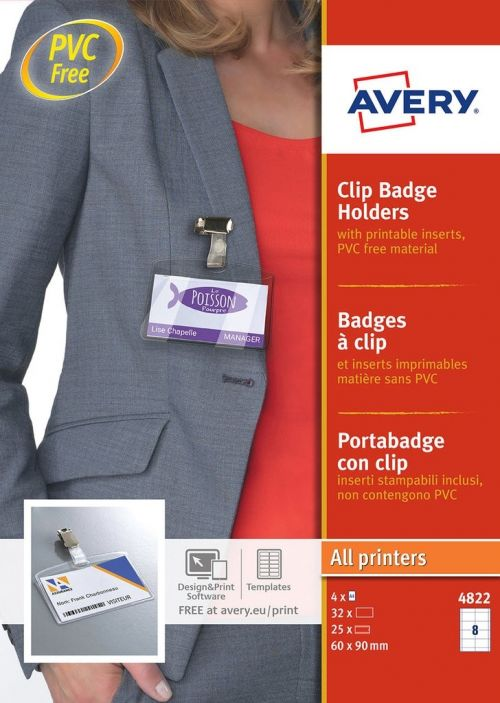 Avery Badge Holders with Clip 60x90mm 32 Inserts 25 Holders