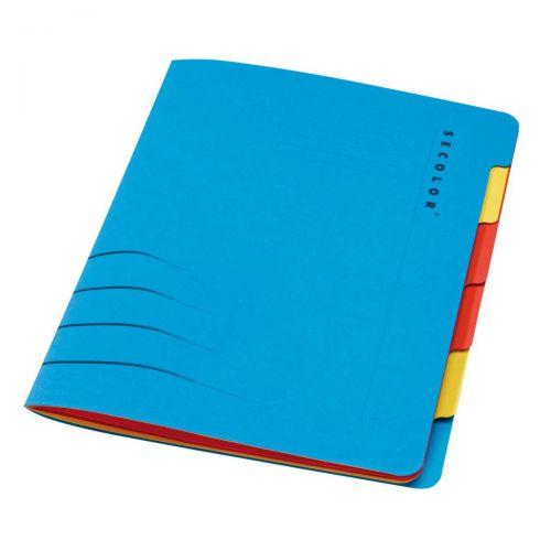 Jalema Secolor SixTab Cardboard File A4 Blue (Pack 5)