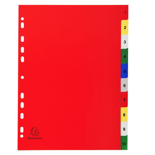 Exacompta PP A4 Index 1-10 Coloured Tabs