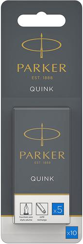 PARKER QUINK Long Fountain Pen Ink Cartridges Blue PK10t