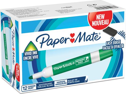 Paper Mate Whiteboard Marker Bullet Tip 2mm Line Green (Pack 12)