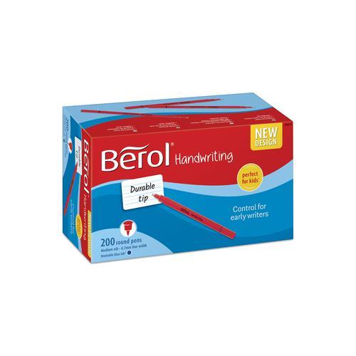 Berol Handwriting Pen Round Washable Bright Barrel Blue (Pack 200)