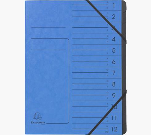 Exacompta CleanSafe Multipart File A4 12 Part 400gsm Blue