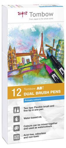 Tombow ABT Brush Pens Primary Colours PK12 plus a FREE Blending Kit