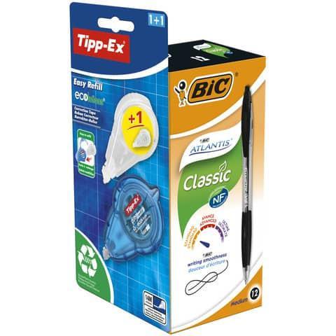 Bic Atlantis Black PK12 with Free Tipp-Ex Ecolutions Easy Refill Correction Tape