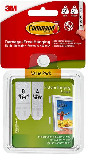Command Picture Hanging Strips Value Pack 8 Medium 4 Small 17203