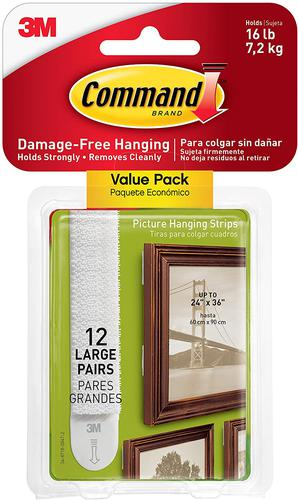 3M Command Picture Hanging Strips Large White (Pack 12) 17206