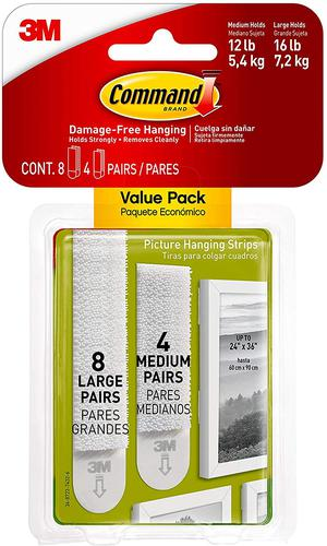 Command Picture Hanging Strips Value Pack 8 Large 4 Medium 17209