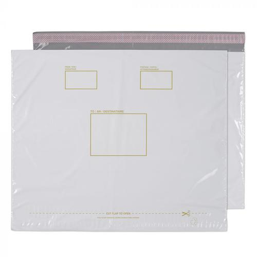 Purely Packaging Polypost Polythene Pocket Peel and Seal White 590x430mm PK100