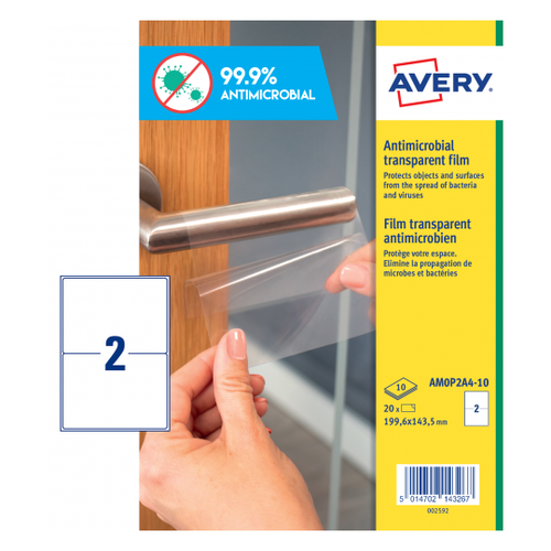 Avery Antimicrobial Film Label Permanent 199.6x143.5mm 2 Per A4 Sheet Clear (Pack 20 Labels)