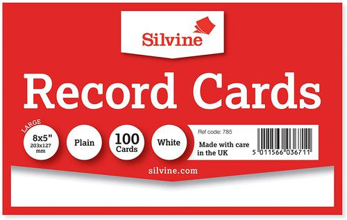 ValueX Record Cards 203x127mm Plain White (Pack 100)