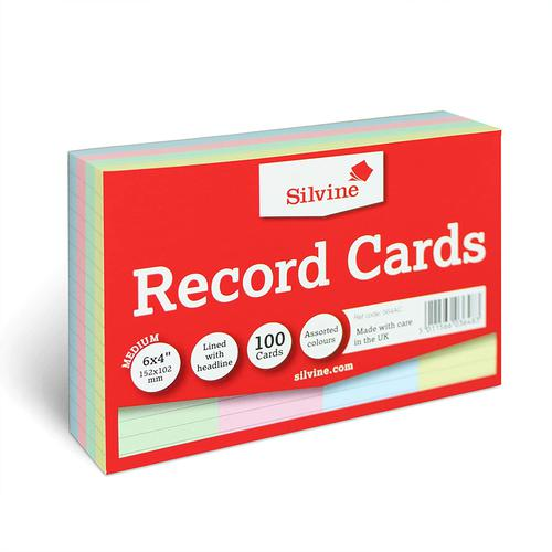 ValueX Record Cards 152x102mm Ruled Assorted Colours (Pack 100)