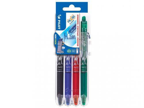 Pilot Set2Go FriXion Clicker Erasable Retractable Gel Rollerball Pen 0.7mm Tip 0.35mm Line Black/Blue/Green/Red (Pack 4)
