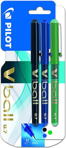 Pilot VBall Liquid Ink Rollerball Pen 0.7mm Tip 0.4mm Line Black/Blue/Green (Pack 3)