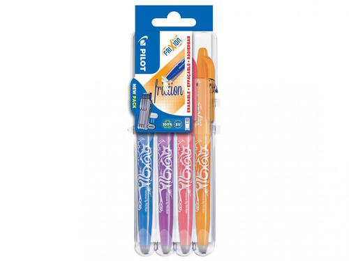 Pilot Set2Go FriXion Erasable Gel Rollerball Pen 0.7mm Tip 0.35mm Line Sky Blue/Purple/Coral Pink/Apricot (Pack 4)