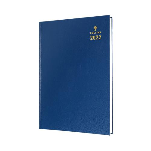 Collins Standard Desk 44 A4 Day To Page 2022 Diary Blue 44.60-22