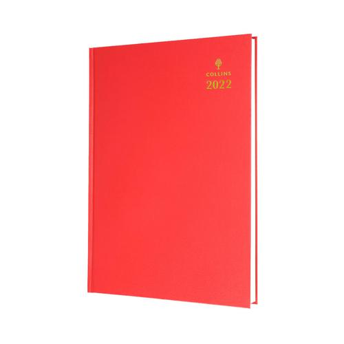Collins Standard Desk 52 A5 Day To Page 2022 Diary Red 52.15-22