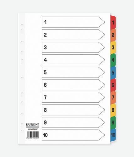 ValueX Index 1-10 A4 Card White with Coloured Mylar Tabs