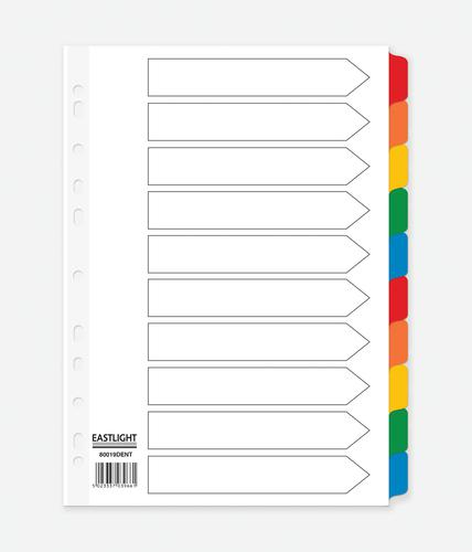 ValueX Divider 10 Part A4 Card White with Coloured Mylar Tabs