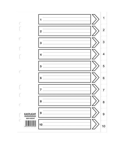 ValueX Index 1-10 A4 120 Micron Polypropylene White