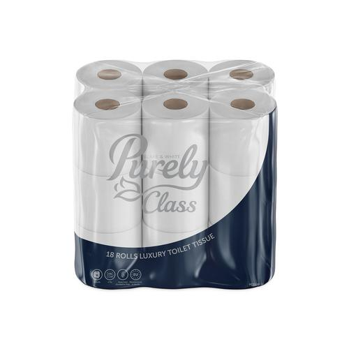 Purely Class Toilet Roll 2ply Domestic Supersoft Pack of 18 +Free Office Protection Kit PC1120+PP9410