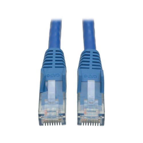 Tripp Lite Cat6 Gigabit Snagless Molded UTP Ethernet Patch Cable RJ45 Blue 1ft
