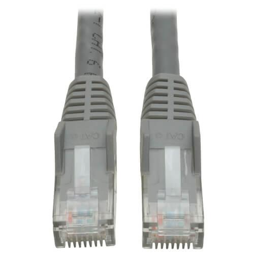 Tripp Lite Cat6 Gigabit Snagless Molded UTP Ethernet Patch Cable RJ45 Gray 1ft
