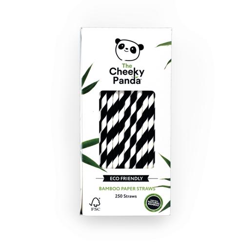 Cheeky Panda Bamboo Paper Straws Black Stripe Pack 250 0111129