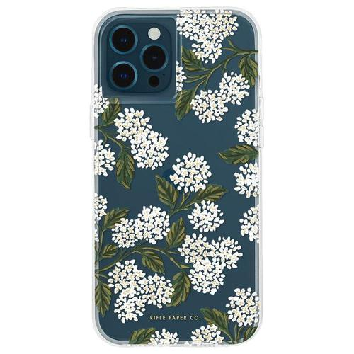 Case Mate Riffle Paper Co Hydrangea White iPhone 12 Mini Phone Case Micropel Antimicrobial Protection Drop Proof Dust Resistant Scratch Resistant