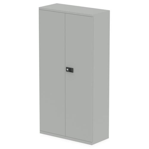 Qube by Bisley 2 Door Stationery Cupboard with Shelves Goose Grey BS0028