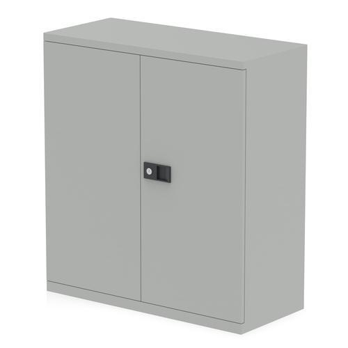 Qube by Bisley 2 Door Stationery Cupboard with Shelf Goose Grey BS0025
