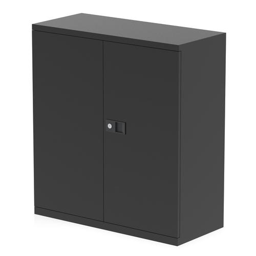 Qube by Bisley 2 Door Stationery Cupboard with Shelf Black BS0024