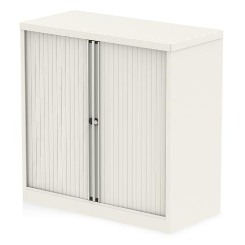 Qube by Bisley Side Tambour Cupboard 1000mm without Shelves Chalk White BS0002