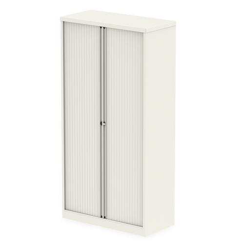Qube by Bisley Side Tambour Cupboard 2000mm without Shelves Chalk White BS0015