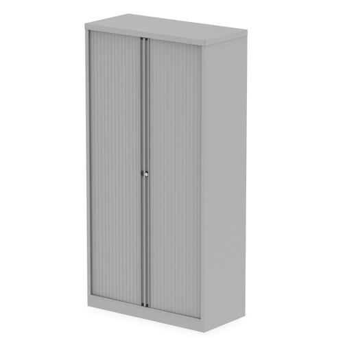 Qube by Bisley Side Tambour Cupboard 2000mm without Shelves Goose Grey BS0014