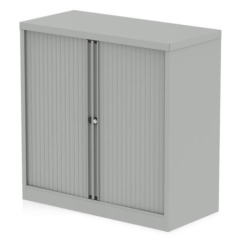 Qube by Bisley Side Tambour Cupboard 1000mm without Shelves Goose Grey BS0001