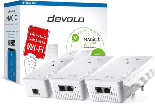 Devolo Mesh WiFi 2 Whole Home WiFi Kit Optimum Mesh Tri Band Additional Gigabit LAN Ports and Power Outlets