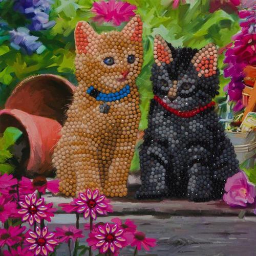 Crystal Art Cat Friends 18 x 18cm Card CCK-A53