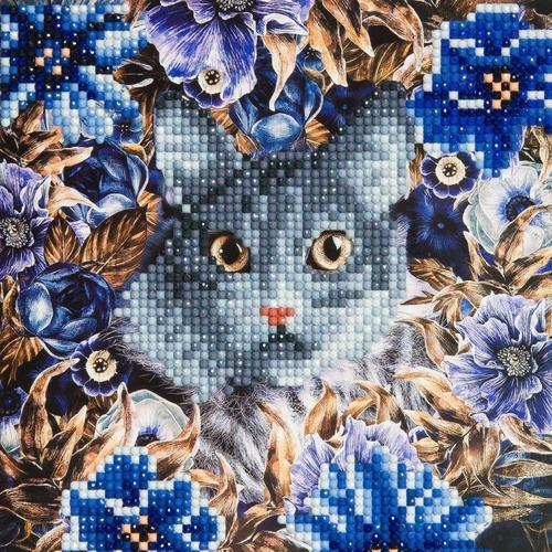 Crystal Art Cat and Flowers 18 x 18cm Card CCK-A4