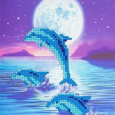Crystal Art Dolphin Pod 18 x 18cm Card CCK-A11